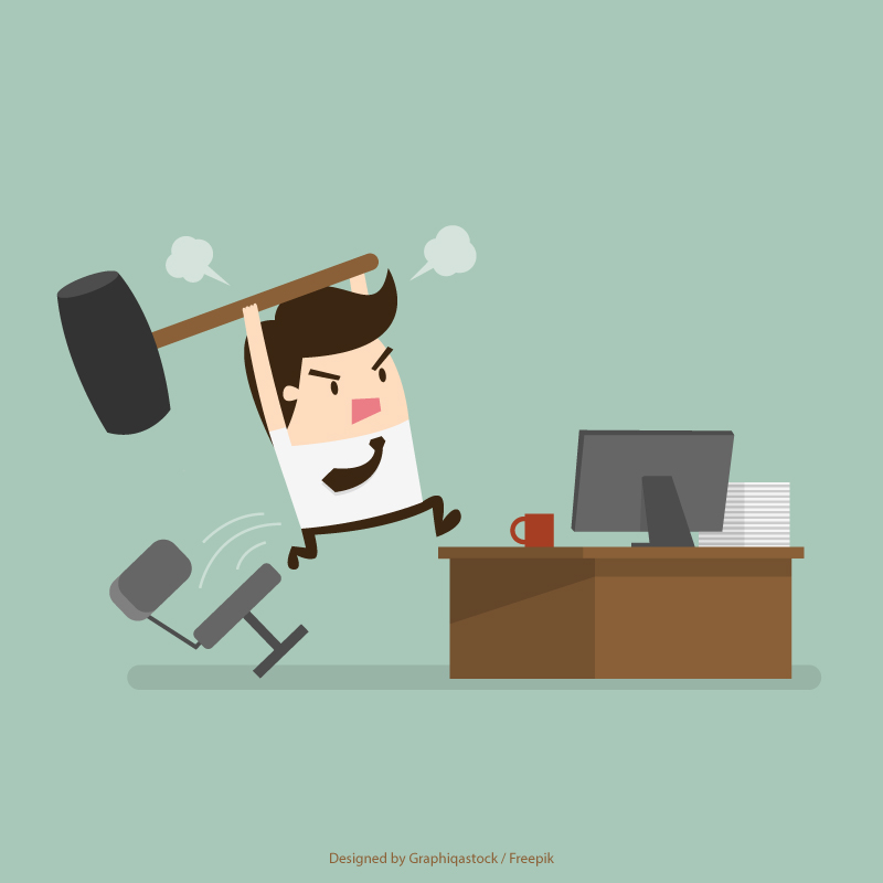 Image showing a project manager frustrated by a lot of work.
