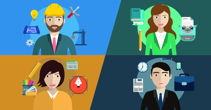 Different specialised professionals with multi-coloured background.